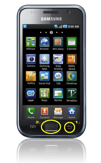 Screenshot machen mit dem Samsung Galaxy S I9000