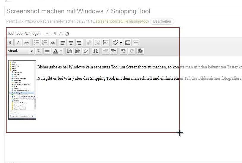 Snipping Tool, Bereich wählen